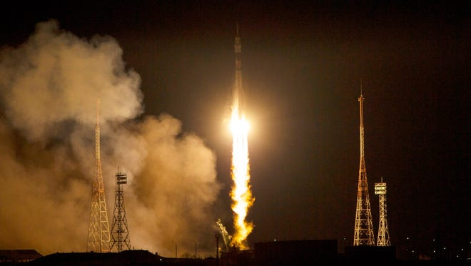 The Soyuz TMA-15M rocket launches from the Baikonur Cosmodrome in Kazakhstan on 24 Nov. 24.