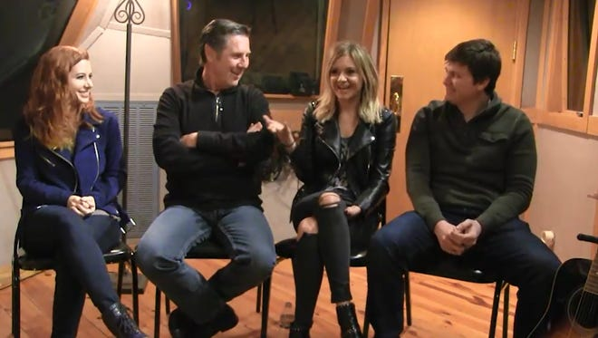 From left to right: Jesse Lee, Bart Herbison, Kelsea Ballerini and Forest Glen Whitehead talk about writing 'Peter Pan'