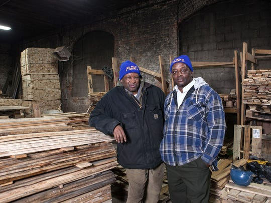 George Givhan and Jake Dee, two of four siblings who are co-owners of J & G Pallets and Trucking on Detroit's east side. This company is one of the two big $100,000 grant winners in NEIdeas competition.