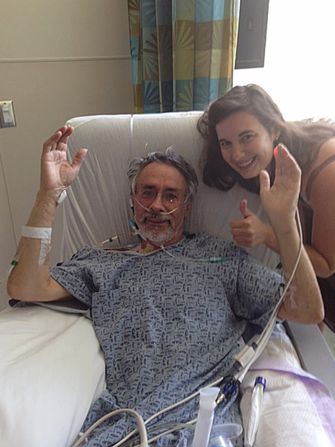 Rudy Caduff and his daughter Anna just before surgery. His daughter quit her job in a veterinarian's office in Ann Arbor, Mich., and moved to Durham, N.C., to be a caretaker for her father after his surgery.