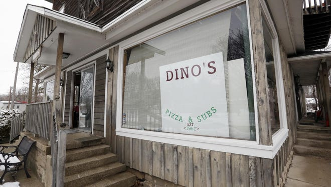 The exterior of Dino's Pizza as seen Wednesday, Feb. 3, in Plymouth.