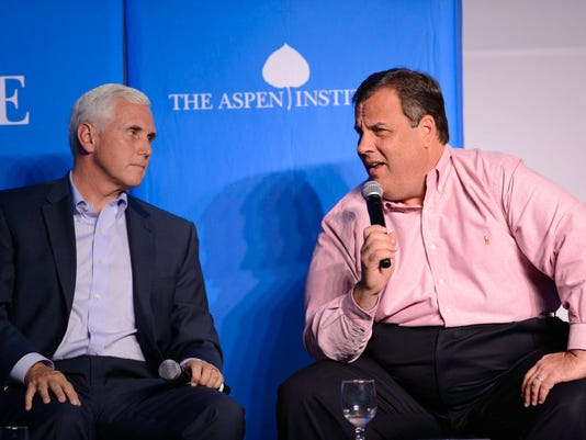 Gov. Chris Christie today speaks at The Aspen Institute for the third straight year. He's shown here in 2013 with Indiana Gov. Mike Pence. (Photo via The Aspen Institute)