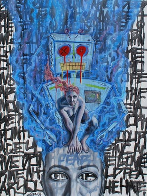 """""""Fearbot"""" is a mixed-media piece by Danielle Branchaud and Nick Masiello. It appears in the Alliance for the Arts' """"Politikos"""" exhibit."""