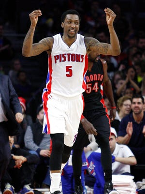 Detroit Pistons guard Kentavious Caldwell-Pope (5) celebrates after scoring during the second quarter against the Toronto Raptors at The Palace of Auburn Hills.