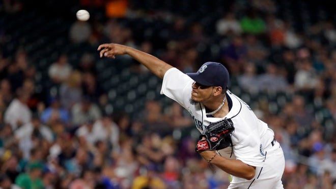 Seattle Mariners relief pitcher Mayckol Guaipe in action against the Baltimore Orioles in a baseball game Monday, Aug. 10, 2015, in Seattle.