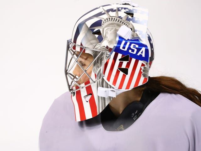 A look at USA goalie Nicole Hensley's mask.