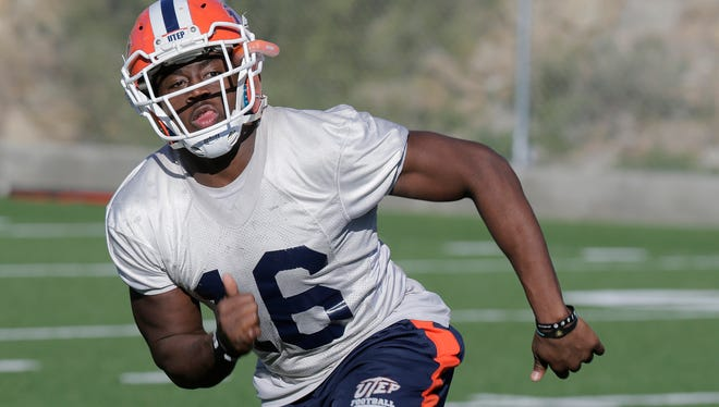 UTEP linebacker Alvin Jones (16) was one of the Miners selected to the honorable mention C-USA team last year.