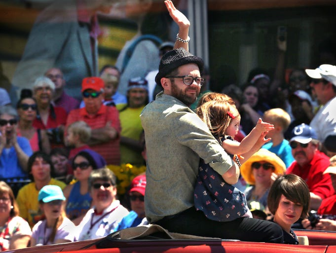 "Indianapolis' Josh Kaufman, Honorary Grand Marshal of the 500 Festival Parade and the winner of ""The Voice"" on NBC, rides with his family in the 500 Festival Parade in Indianapolis on Saturday, May 24, 2014."