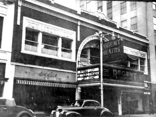The Regent Theatre once occupied a spot to the west of the Battle Creek Tower, which can be seen on the right.