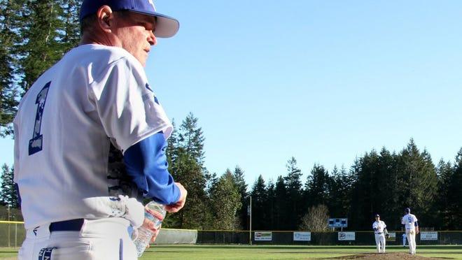 North Mason coach Bill Geyer has fought through terminal cancer to play this season. (STEVE ZUGSCHWERDT/SPECIAL TO THE KITSAP SUN)
