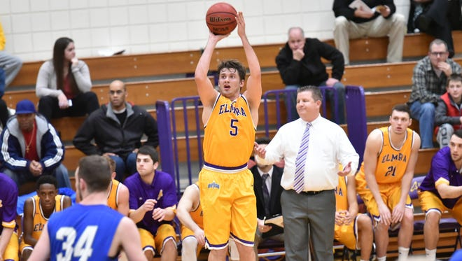 Elmira College senior forward Hayden Harkins shoots from three-point range Saturday against visiting St. Lawrence. Harkins made 11 threes to set a single-game program record in the Soaring Eagles' win.