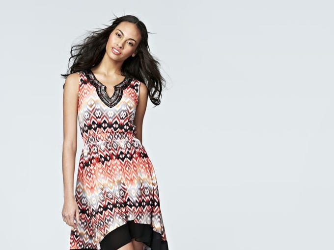 Keep cool with there airy sundresses. NY Collection embellished printed high-low hem dress, $50 at MacyÕs(Gannett/File)