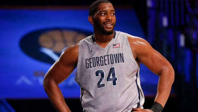 Georgetown center Joshua Smith reacts during a game Nov. 28 against Butler.