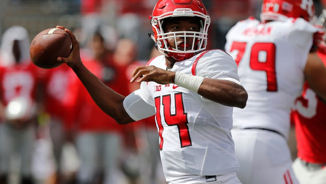 Rutgers quarterback Tylin Oden throws a pass against Ohio State during the second half of an NCAA college football game Saturday, Oct. 1, 2016, in Columbus, Ohio. Ohio State beat Rutgers 58-0. (AP Photo/Jay LaPrete)