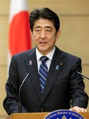 Japanese Prime Minister Shinzo Abe speaks in Tokyo