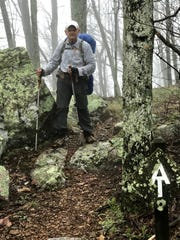 Kent Dykes makes his way along a stretch of the Appalachian Trail.