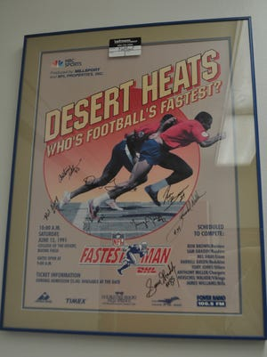 This is a poster from the NFL fastest man contest which brought some of the NFL's biggest names to College of the Desert in the 1980s.