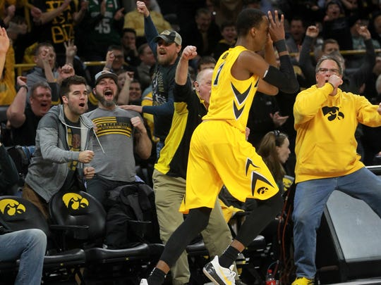 Iowa's Maishe Dailey celebrates a 3-pointer during the Hawkeyes' game against Michigan State at Carver-Hawkeye Arena on Tuesday, Feb. 6, 2018.