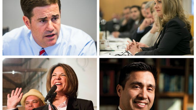 Our 16 for 2016 list includes (clockwise from top left) Doug Ducey, Eileen Klein, Javier Cardenas and Kelli Ward.
