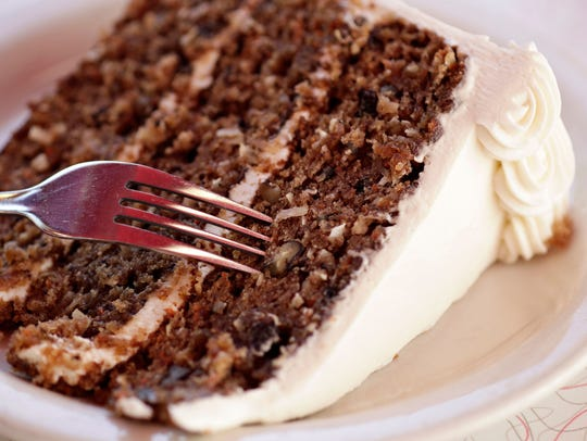 A slab of carrot cake is a tempting dessert at the