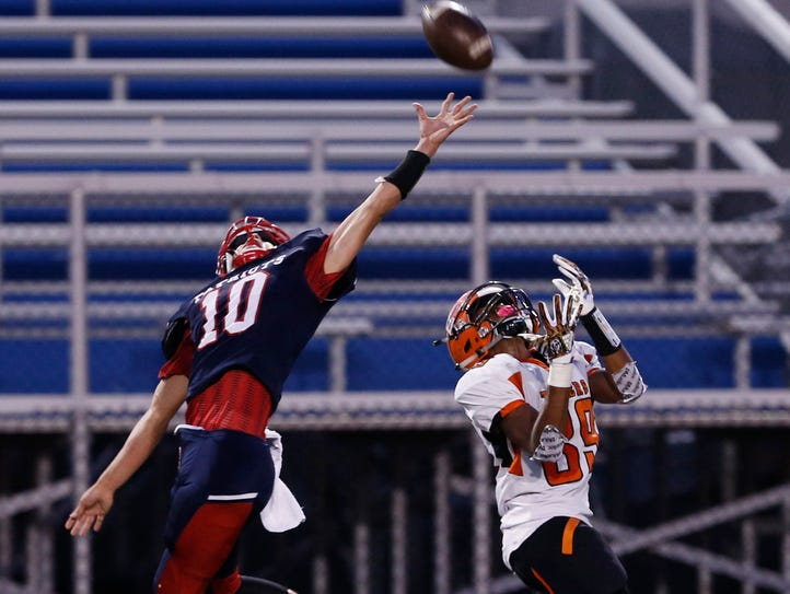 Binghamton's Devin Tyler reaches for a pass intended