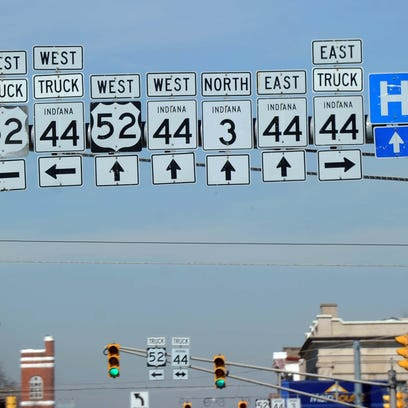 Highway signs direct motorists in downtown Rushville.