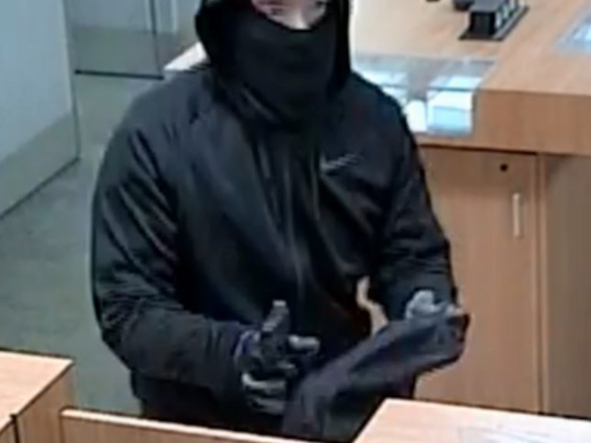 Surveillance video shows a robber at a PNC Bank in Evesham on Dec. 8, 2017.