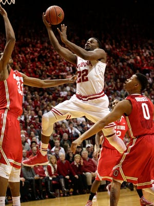 Indiana guard Stanford Robinson (22) drives to the basket during a NCAA men's basketball game on Saturday, Jan. 10, 2015, at Assembly Hall in Bloomington. (James Brosher / For The Star)