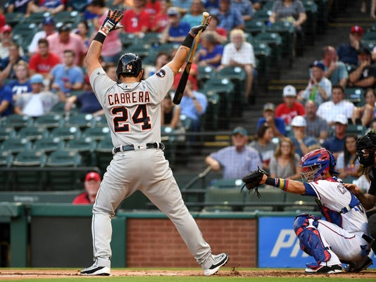 Detroit Tigers first baseman Miguel Cabrera (24) takes ball four from Texas Rangers starting pitcher A.J. Griffin in the first inning of a baseball game, Tuesday, Aug. 15, 2017, in Arlington, Texas. (AP Photo/Jeffrey McWhorter)