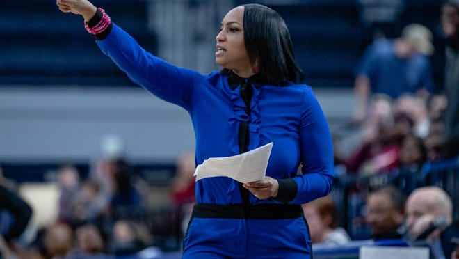 Anita Howard coaches the Georgia Southern women's basketball team against Troy lst season.