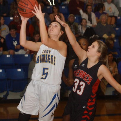 Mountain Home's Micah Hudson (5) goes up for two during a recent game against Searcy. The Lady Bombers fell 46-19 at North Little Rock on Tuesday night.