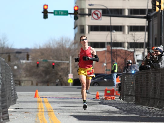 Will Rehrig wins the Caesar Rodney Half-Marathon in Wilmington in 2018.