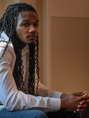 Brandon Banks, the third of four defendants in the Vanderbilt rape case sits in the hallway waiting for jury section to begin at the Justice A.A. Birch Building in Nashville, Tenn., Wednesday, June 14, 2017.