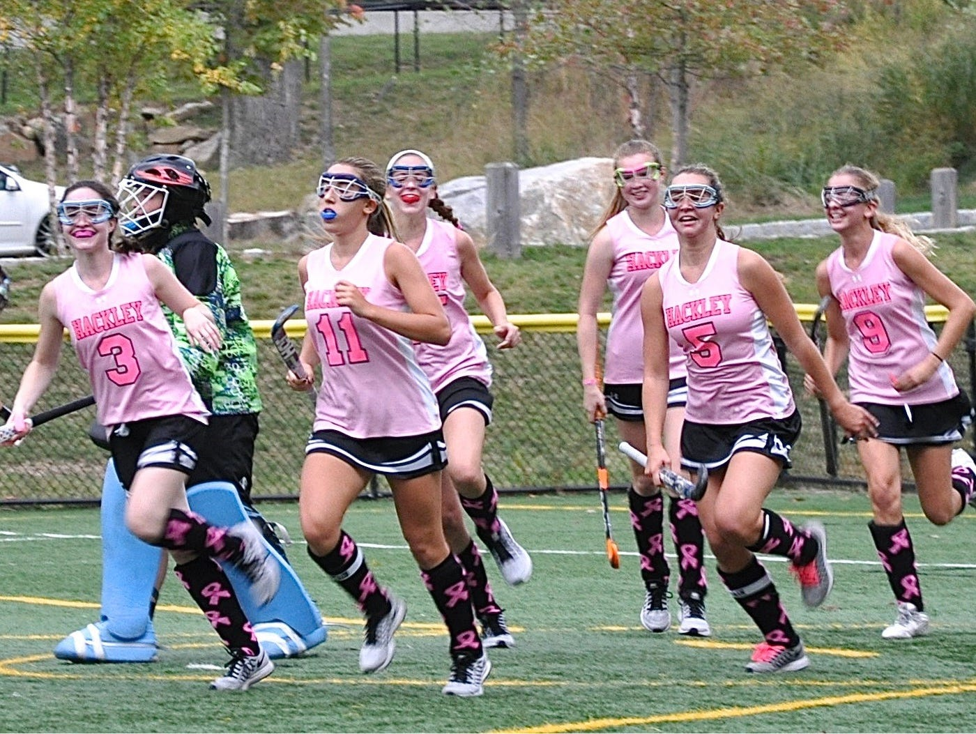 Hackley reacts to cutting Rye's lead in half on a goal by Ally Petitti (11) from Katie Bogart (5