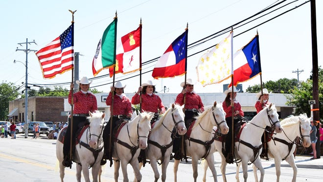 A riding club participates in the annual Jim Bowie Days Celebration in Bowie.
