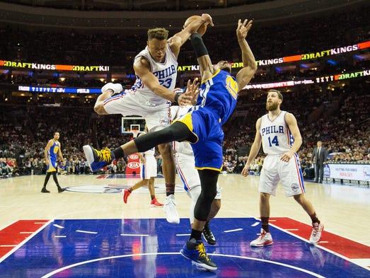 Feb 27: Philadelphia 76ers guard Justin Anderson fouls