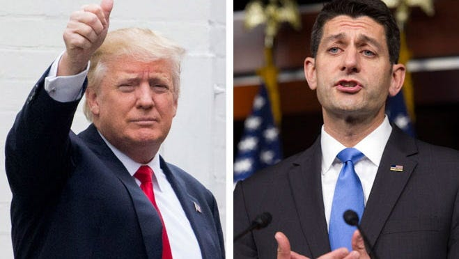 Republican presidential candidate Donald Trump (left) and House Speaker Paul Ryan.