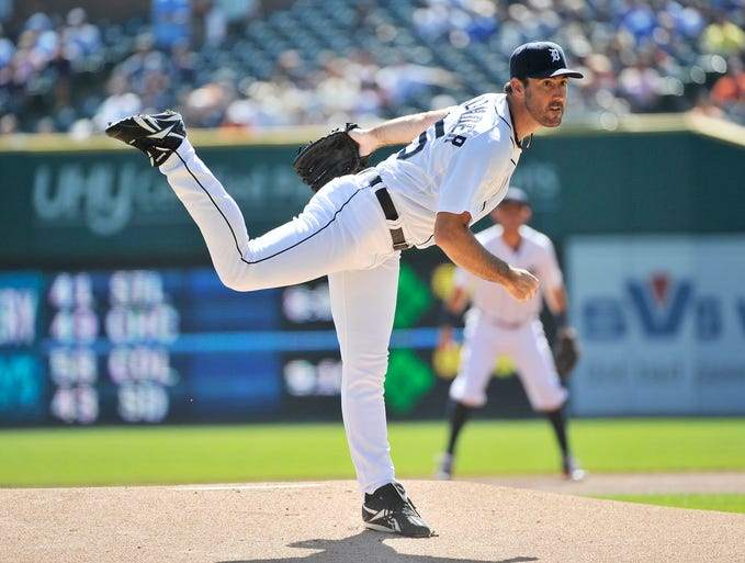 Tigers pitcher Justin Verlander works in the first inning. Verlander pitched eight innings allowing seven hits with one earned run with six strikeouts.  The Tigers defeated the White Sox, 6-1, on Wednesday, Sept. 24, 2014, at Comerica Park in Detroit.