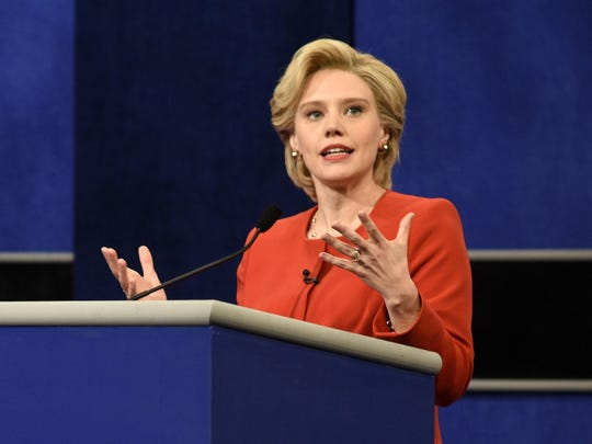 "Kate McKinnon portrays Democratic presidential candidate Hillary Clinton during a sketch on ""Saturday Night Live"" in October."