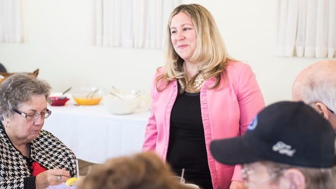 Rep. Kate Klunk (R-Hanover) speaks to constituents at a senior spring fling at the Hanover Railside Banquet Center on Thursday, March 22, 2018.