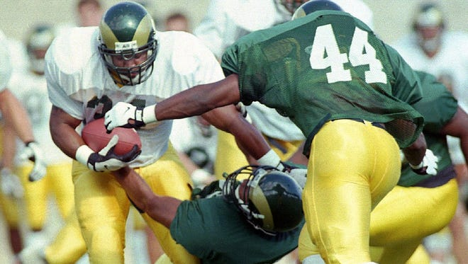The No. 44 has been worn by a number of stalwart defensive stars at CSU over the years. Adrian Ross sports the number in this file photo.