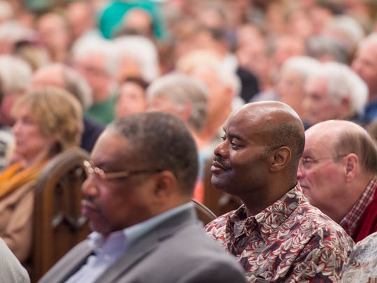 Members of Knoxville-area churches sit and listen during the second annual Justice Knox Nehemiah Action Assembly held at Central United Methodist Church in Knoxville on Monday, April 30, 2018.