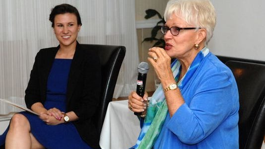The Asbury Park Press hosted a business networking event and live interview with Jersey Shore real estate business women Diane Turton. The event was held at Spring Lake Manor. Shown from left are: Devin Loring and Diane Turton.