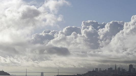 Large clouds move over the San Francisco skyline on April 8 in this view from Sausalito.