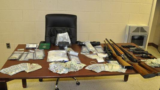 Three men were arrested in Milan this week after agents with West Tennessee's 28th District Drug Task Force said they found methamphetamine, marijuana, pills and weapons in two Milan homes.