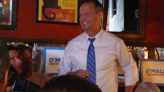 Martin O'Malley speaks to a crowd at the Sanctuary in Iowa City earlier this month.