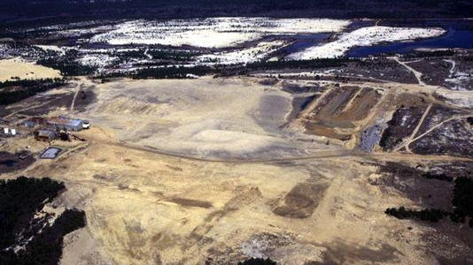 An aerial view of the former quarry known as Heritage Minerals in Manchester. The site is known locally as Sarco.