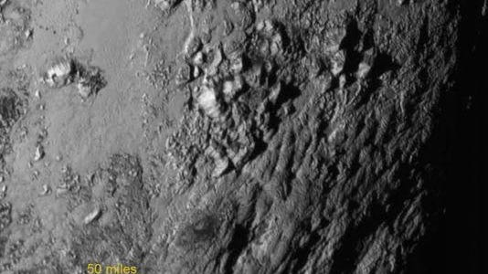 A closeup image of Pluto released July 15.
