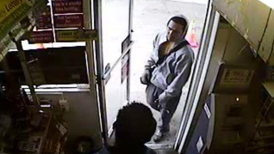 This photo was released in June of a suspect in the robbery of a Lukoil gas station in Roxbury.
