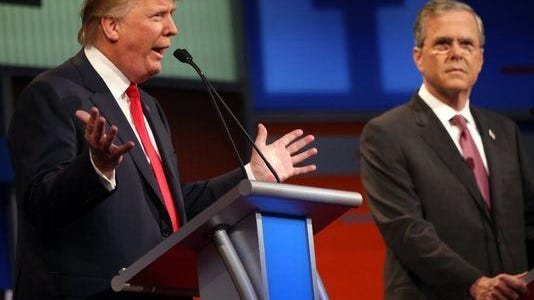 Donald Trump and Jeb Bush at the Republican presidential debate Aug. 6, 2015, in Cleveland.
